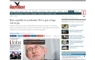 Race equality in academia- We've got a huge way to go - Opinion - Student - The Independent - 5 Aug 2013